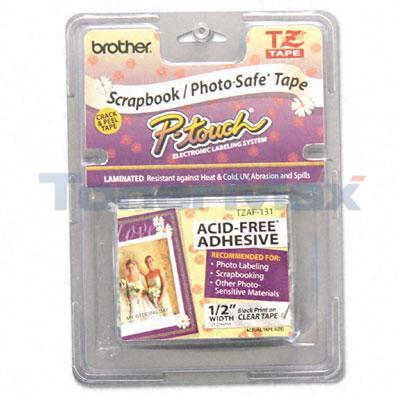 BROTHER TZ SERIES TAPE CTG BLACK ON CLEAR 1/2IN